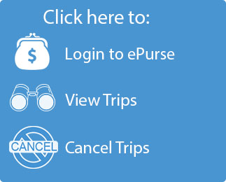 Button that reads click Here to: Login to ePurse, View Trips, Cancel Trips